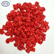 HL 100pcs Handmade Red Ribbon Rose Flowers Wedding Decoration DIY Crafts Apparel Accessories Sewing Appliques 15MM A662