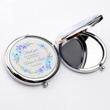 Персонализированное компактное зеркало для свадебной вечеринки, карманное зеркало для макияжа, заказное зеркало для кошелька, зеркальный свадебный подарок для женщин, гостей, 60 шт