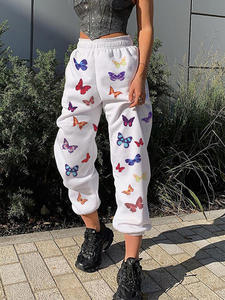 Rapwriter Loose-Pants Jogger Pocket Stretch Print Butterfly High-Waist Summer Fashion