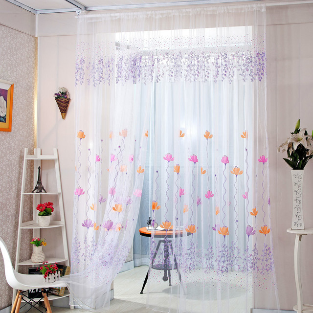 1 Panel Fabric Colorful Lotus Sheer Curtain High Quality Tulle Window Treatment Voile Curtain Drape Valance For Living room 1