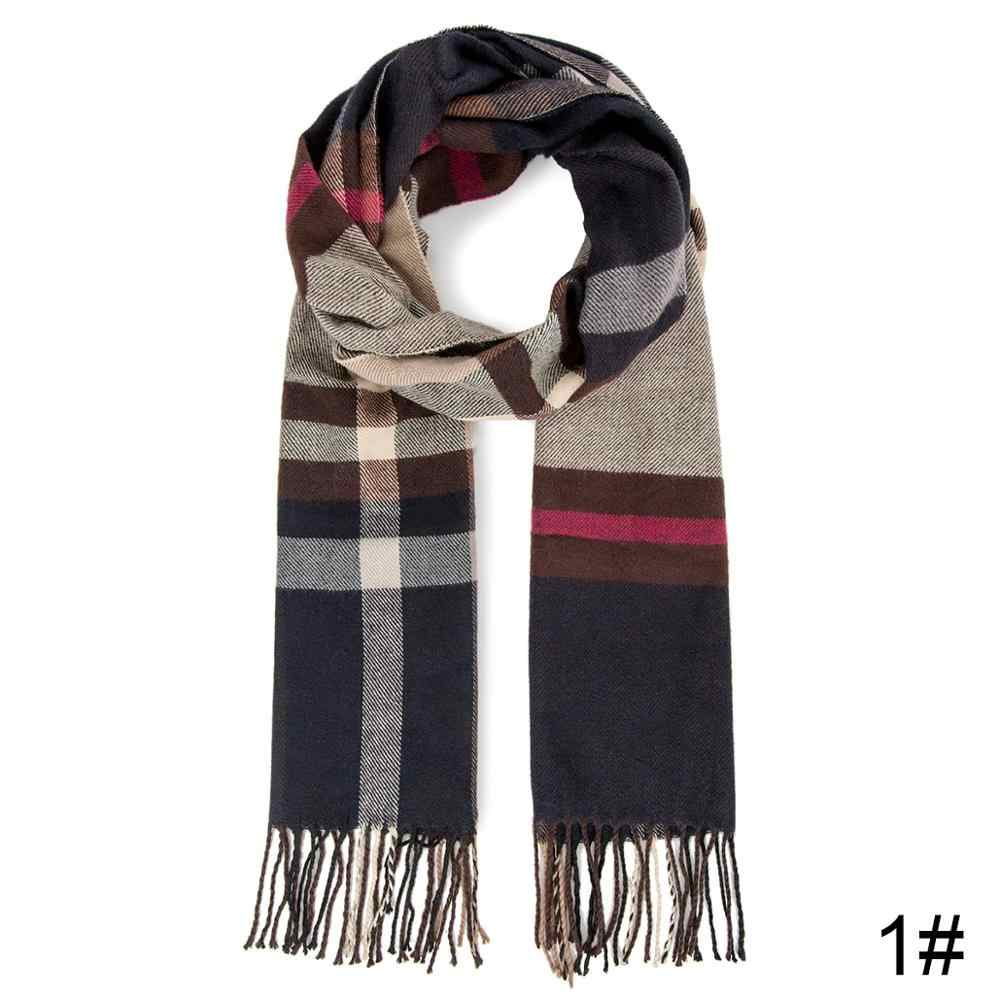 Wish Club 2019 модный бренд длинный зимний шарф женский шали с бахромой клетчатый узор шарф Женский Повседневный зимний теплый шарф унисекс