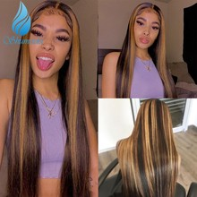 Shd destaque cor marrom perucas da parte dianteira do laço com parte média em linha reta brasileiro remy perucas de cabelo humano para as mulheres com cabelo do bebê