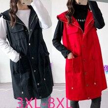 2019 الخريف الشتاء حجم كبير معطف طويل للنساء سترة دون أكمام فضفاضة غير رسمية معاطف مع قبعة أسود أحمر أخضر 4XL 5XL 6XL 7XL 8XL