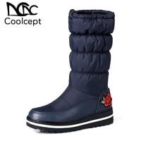 Coolcept Big Size 35 44 Women Mid Calf Down Boots New Winter Elastic Band Plush Fur Cotton Shoes Women Keep Warm Flats Boots