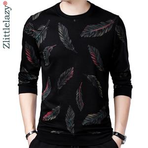Image 1 - Jersey de diseñador con plumas para hombre, Jersey delgado de punto, ropa de punto ajustada, ropa de punto 2020