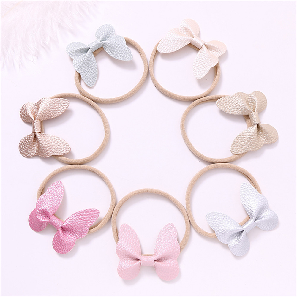 7pcs Cute Children Headband Artificial Leather Spring Bow Butterfly Headbands For Girls Candy Color Soft Nylon Hair Accessories