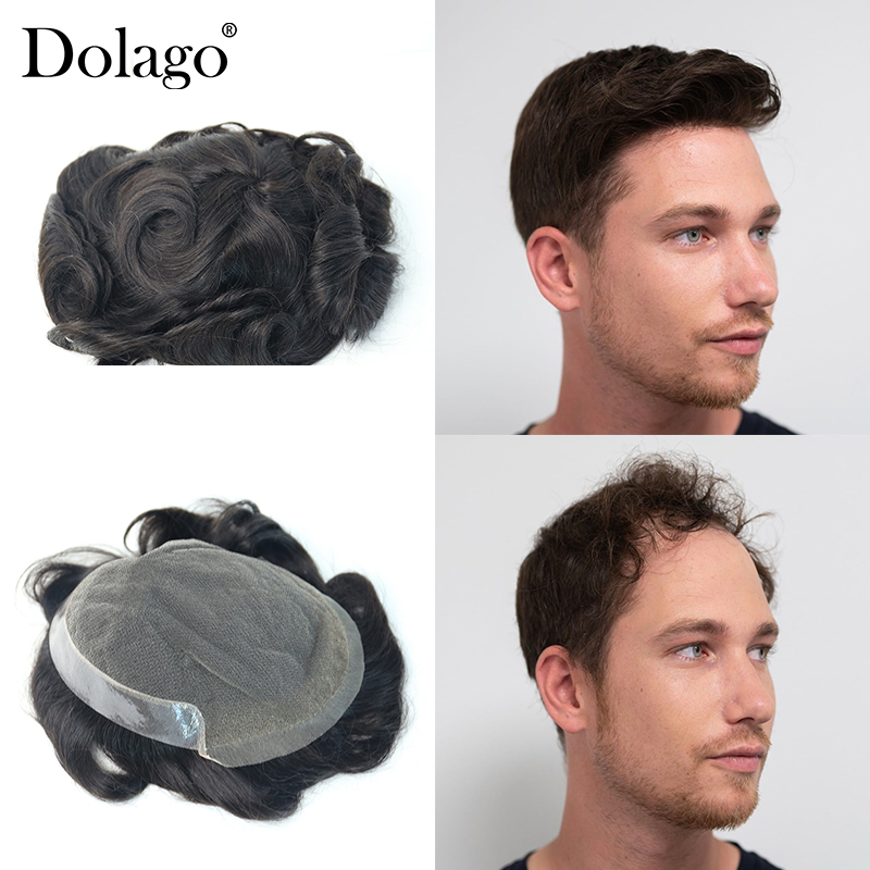 """8X10"""" Swiss Lace Durable Thin Skin Men Toupee Knot Injected Hair 1B Color Repacement Hair Prosthesise Dolago Silk Base Hair"""