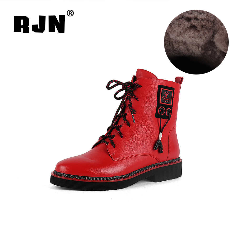 New RJN Wool Women Winter Boots Mixed Color Unqie Design ShoeLace Comfortable Round Toe Low Heel Shoes Cow Leather Ankle Boots R12