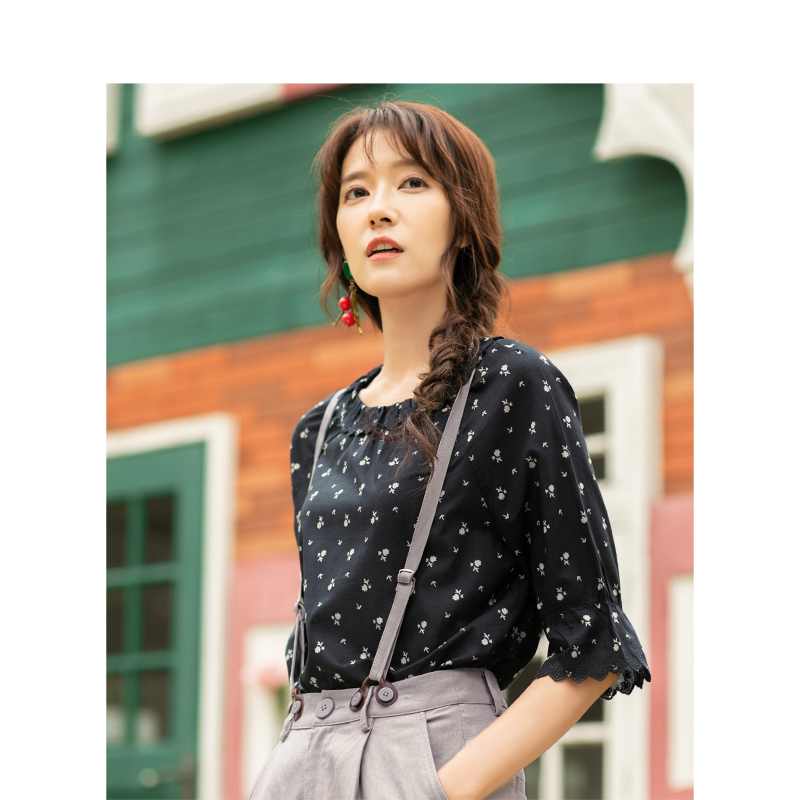 INMAN 2020 Summer New Arrival Pure Cotton Literary Lace Lapel Sweet Temperament Blouse