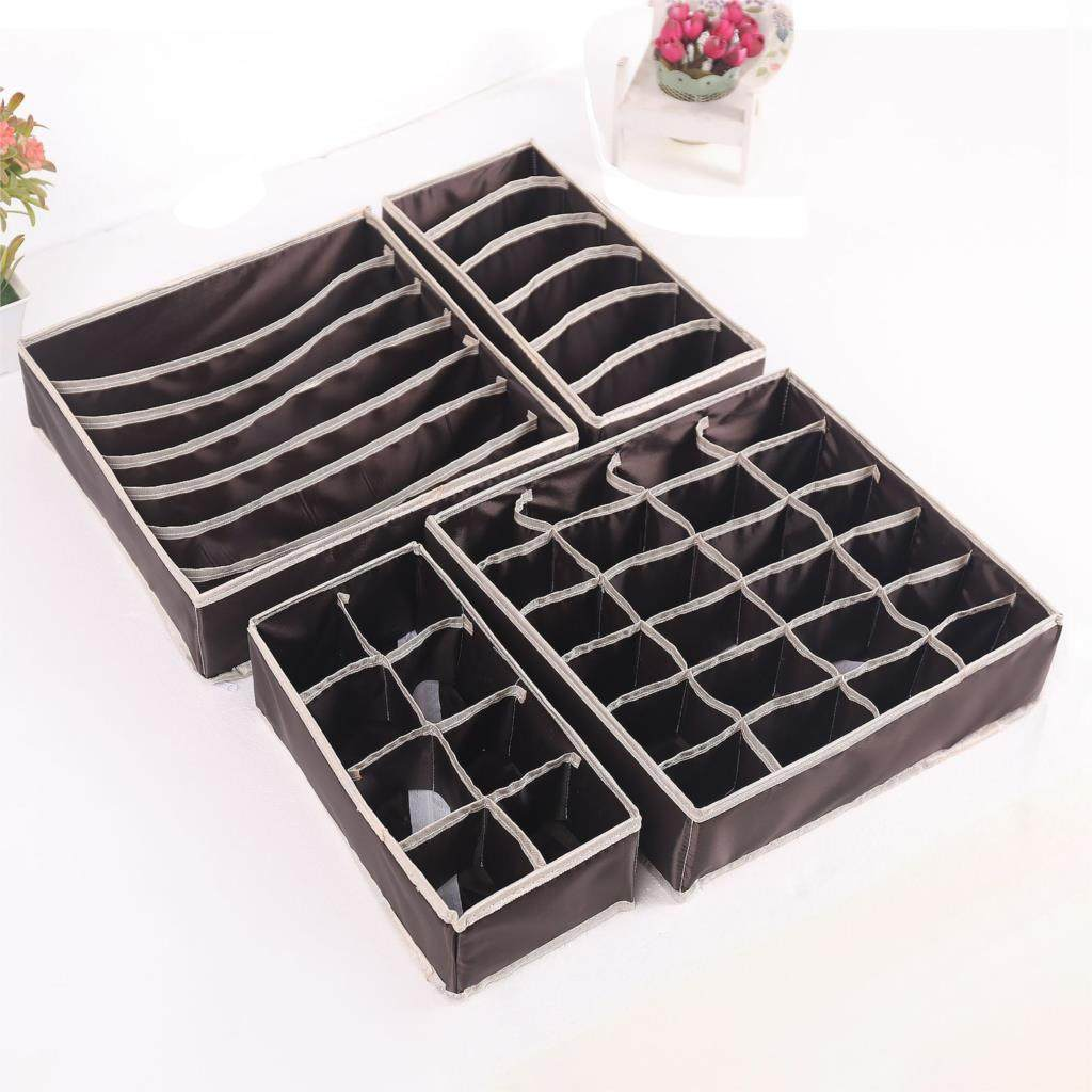 4pcsStorage Boxes Underwear Divider Drawer Lidded Closet Organizer Drawer Lidded Closet Organizer By For Bras Socks Ties