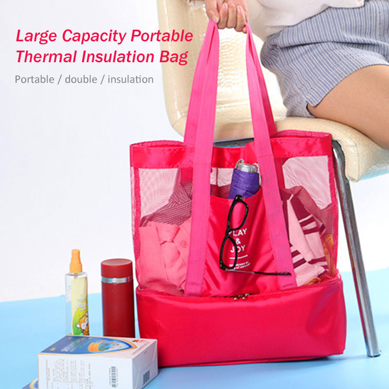 2 in 1 Outdoor Waterproof Insulated Picnic Storage Mesh Beach Handheld Lunch Bag