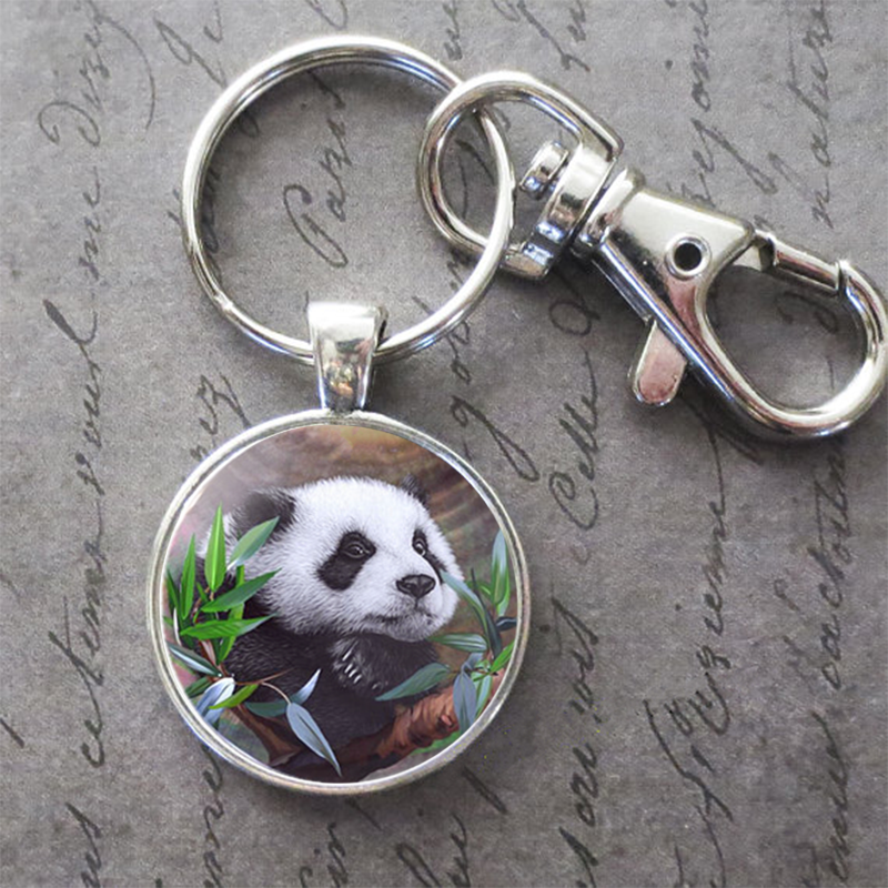 Art Painting Cute Panda Key Ring KeyChain Animal Photo Key Buckle Pendant Birthday Festival Anniversary Gift Jewelry Accessories