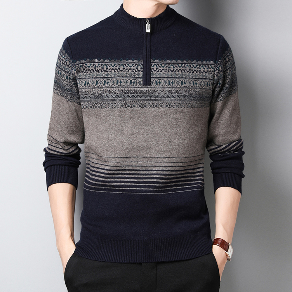 Sweater Mens Half-high Collar Zipper Pullovers Slim Fit Printed Business Office Jumpers Knitred Winter Thick Warm Male Clothes