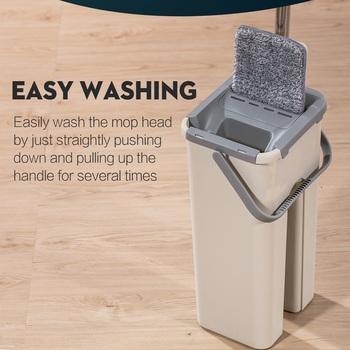 Mop Mop podłogowy mikrofibra Squeeze Mop Mop do łazienki Mop do mycia na mokro czyszczenie podłogi mycie gospodarstwa domowego do czyszczenia kuchni Mop obrotowy Mop wiadro tanie i dobre opinie OIMG CN (pochodzenie) 10 sekund Typu Hook Loop Plastikowe wiadro Z 1 głowicą do mopa 26-30 minut 90 -100 701 ml