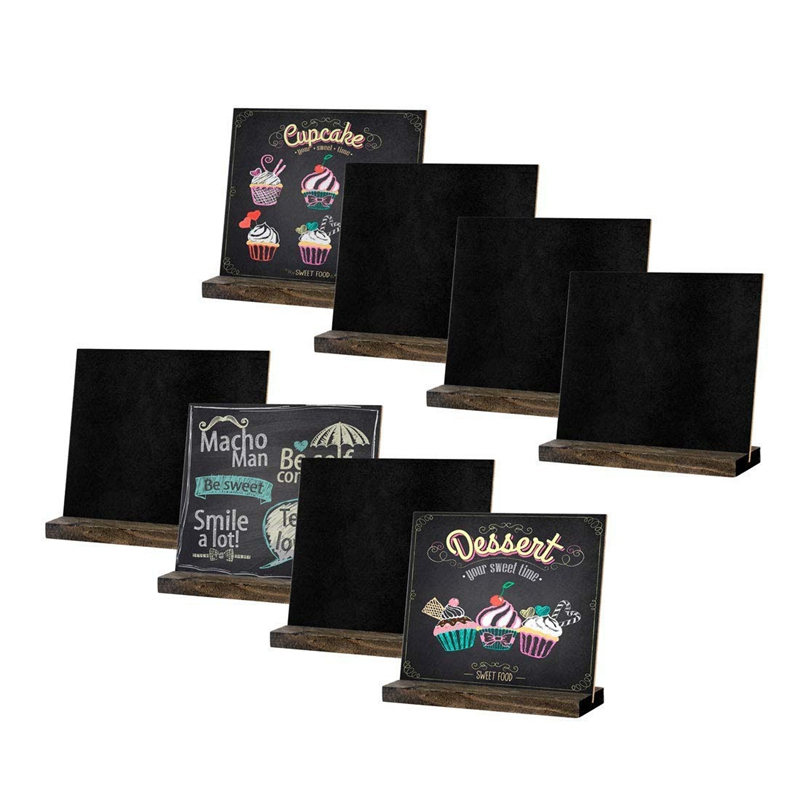 HLZS-8 Pack Mini Chalkboard Signs, Vintage Wooden Tabletop Chalkboard <font><b>Sign</b></font> with Base Stand, <font><b>Framed</b></font> Message Small Chalkboard <font><b>Sign</b></font> image