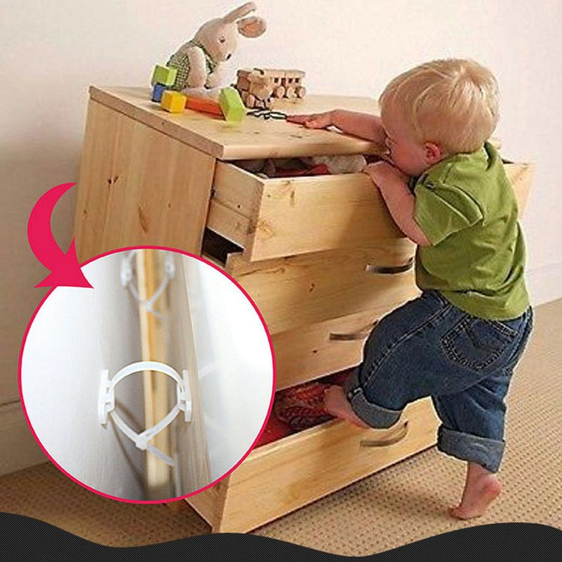 Furniture Anchors Anti Tip Earthquake Resistant Straps Child Safety Secure Kit U50F