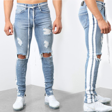 Mens Stylish Ripped Jeans Man Skinny Slim pants Straight Frayed Denim Trousers New Fashion  Men Clothes