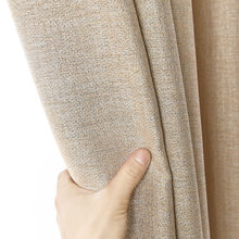 300cm Height Blackout Curtains For Living Room Custom Linen Solid Color Thick Modern Curtain Bedroom Cotton Fabric Cortinas(China)