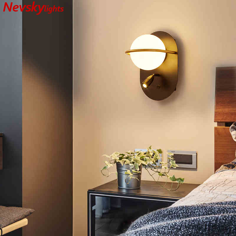 Modern wall lights for home white glass ball led wall Lamp bedside lamps for bedroom kitchen fixtures led classic golden sconces