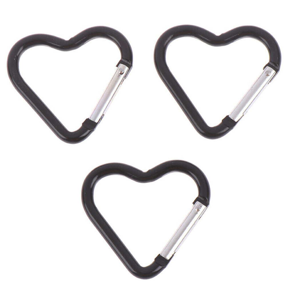 3pcs Portable Gadgets Heart Shaped Carabiner Aluminum Alloy Fast Hanging Sport Camping Multi Functioned Hiking Keychain Clip
