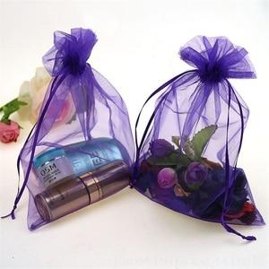 Image 2 - 100 ADET 7x9 9x12 10x15 15x20CM Organze hediye çantası İpli Organze Ambalaj çanta Düğün Parti Takı Çantası Hediye Torbalar 88