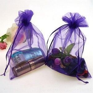 Image 2 - 100PCS 7x9 9x12 10x15 15x20CM Organza Gift Bag Drawstring Organza Packaging Bags Wedding Party Jewelry Bag Gift & Pouches 88