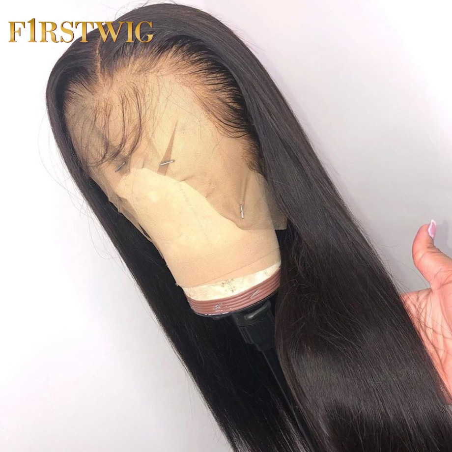FirstWig 360 Lace Front Human Hair Wigs Pre Plucked Baby Hair Brazilian Straight Hair Glueness 13x6 Lace 370 Wig New Arrival