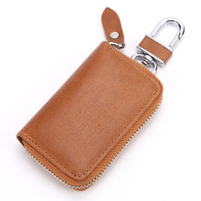 Genuine Leather Car Key Case Wallet Men Keychain Cover Zipper Wallet Women Key Holder Organizer Large Capacity Pouch FX -9099(China)