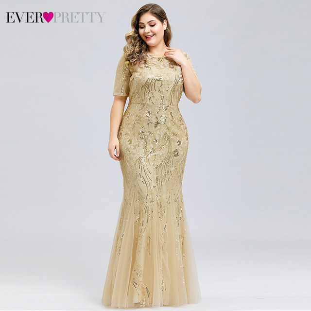 Mermaid Evening Dresses Plus Size Ever Pretty Sequined Short Sleeve O-Neck Sexy Formal Dresses Evening Party Gowns Lange Jurken 4