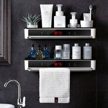 Punch livre organizador do banheiro prateleira cosméticos shampoo rack de armazenamento de banho toalha de cozinha titular artigos do agregado familiar acessórios do banheiro
