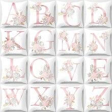Pillow Cover Decorative Pink Letter Printed Cushion Covers 45*45 Pillowcase Sofa Cushions Polyester cuscini decorativi T146 new cartoon dinosaur decorative pillow cushion covers pillowcase cushions for sofa polyester pillowcover cuscini decorativi