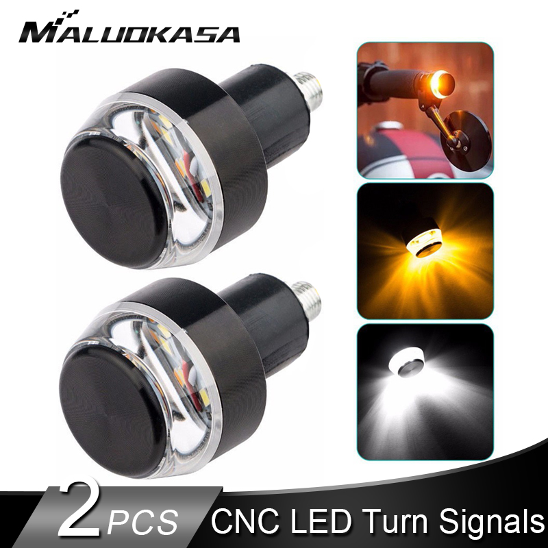 CNC Motorcycle Turn Signal LED Handlebar End Blinker Universal 22mm Indicator Amber Grip Plug Signal Light 12V Flasher Side Lamp