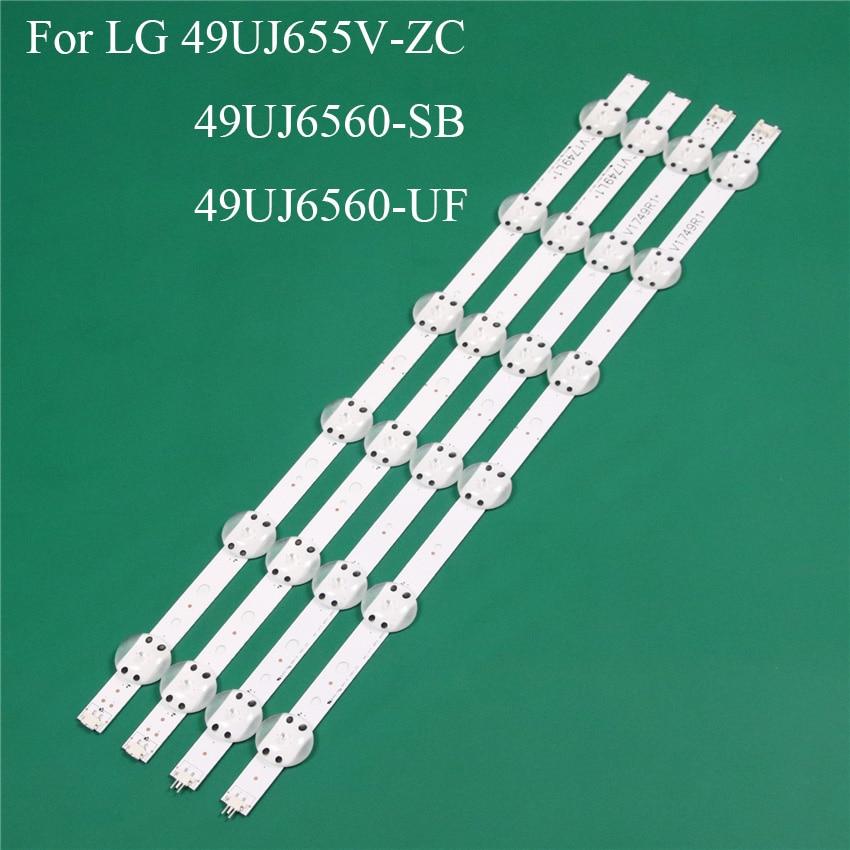LED TV Illumination Part Replacement For LG 49UJ655V-ZC 49UJ6560-SB 49UJ6560-UF LED Bar Backlight Strip Line Ruler V1749L1 2862A
