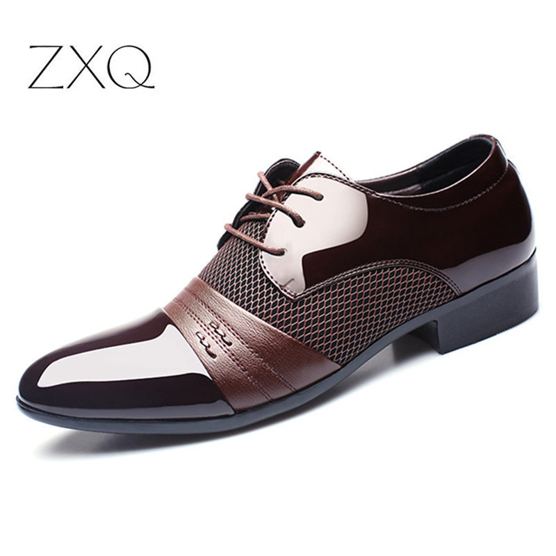 ZXQ Men Dress Shoes Plus Size 38-48 Men Business Flat Shoes Black Brown Breathable Low Top Men Formal Office Shoes