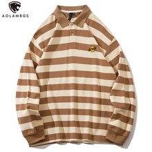 Aolamegs – Polo à manches longues pour hommes, Streetwear Harajuku, avec lettres de la planète brodées, imprimé rayé