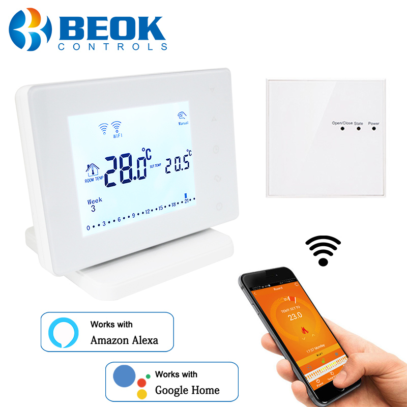 Beok Wireless Wifi Smart Thermostat for Gas Boiler Actuator Room Temperature Controller Works with Google Home Alexa USB Powered