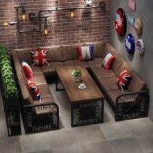 American Retro Western Restaurant Sofa Cafe Card Slot Table and Chair Milk Tea Shop Dessert Shop Bar KTV Sofa