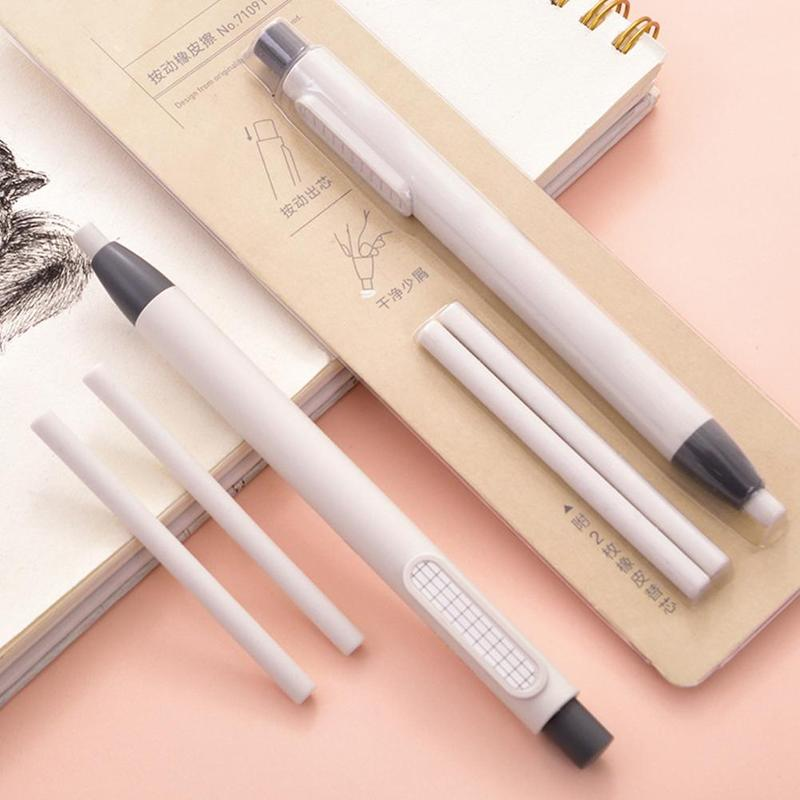 1 Set Of Fillable Pen-shaped Press Pencil Eraser Stationery Mechanical Stationery Tool Press Correction Office School Rubbe Q2Z0