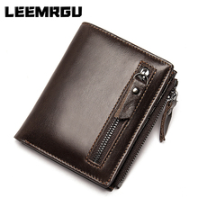 High quality men short leather wallet retro multi-function bi-fold top leather coin pocket photo card pack wallet