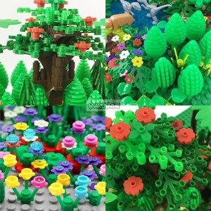 Image 5 - Marumine MOC Baum Anlage Zubehör Teile Bausteine Kompatibel Blume Grün Gras Bush Blatt Dschungel Garten Set Stadt Ziegel