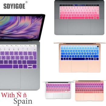 Película protectora de teclado español para Mac Book pro 13 A2159 pro13 Retina air A1466 A1708A1989A1932 teclado de silicona europeo cubierta