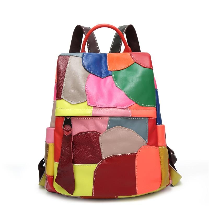 Genuine Leather Backpack Sheepskin Colorful Patchwork Summer Backpack Designer Travel Luxury Bag Shopper Bag 2019 Best Gift