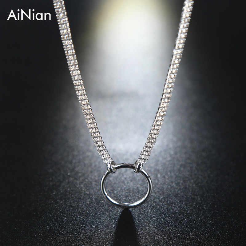 Femmes plein brillant cristal strass collier ras du cou pendentif rond collier de mariage bijoux Chic à la mode