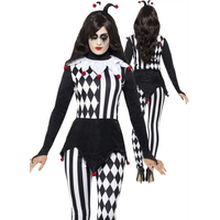 Women Killer Clown Costumes Halloween Masquerade Party Role Play Ladies Outfit with Headwear Black white Killer Disguise Cos Set