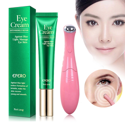 Collagen Eye Cream Dark Circle Moisturize Lifting Firming Skin Care Remove Anti-Aging Wrinkle Vibration Eye Massage Pen Massager