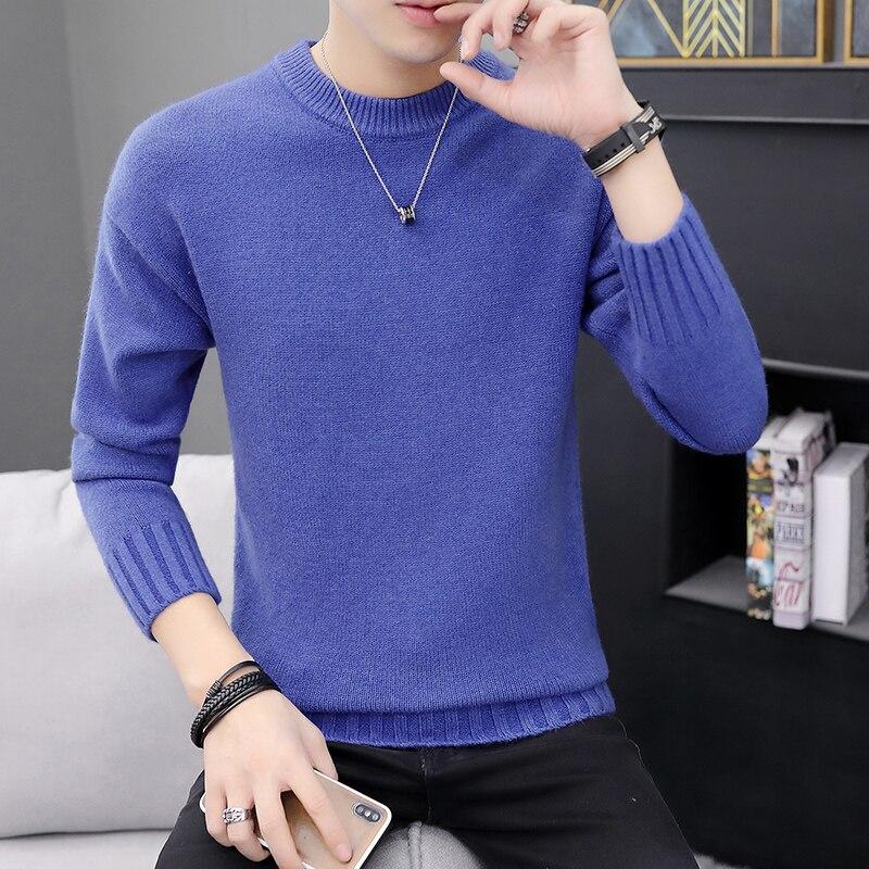 2019 New Fashion Brand Men's Sweater Thin Neck Tight Sweater Solid Color Autumn Korean Casual Wear/ Sweater Men
