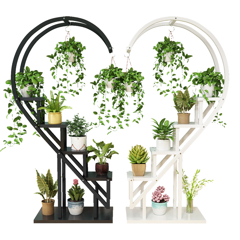 Living Room Home Shelves Multi-storey Indoor Special Balcony Wrought Iron Round Shelves Decorated With Green Dill Garland