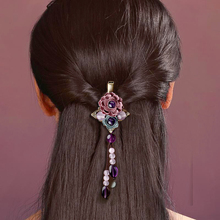 Classic Metal Flower Hairpin Vintage Women Headwear Ethnic Hair Jewelry Barrette Ornaments Tassel Hair Accessories Clip цена и фото