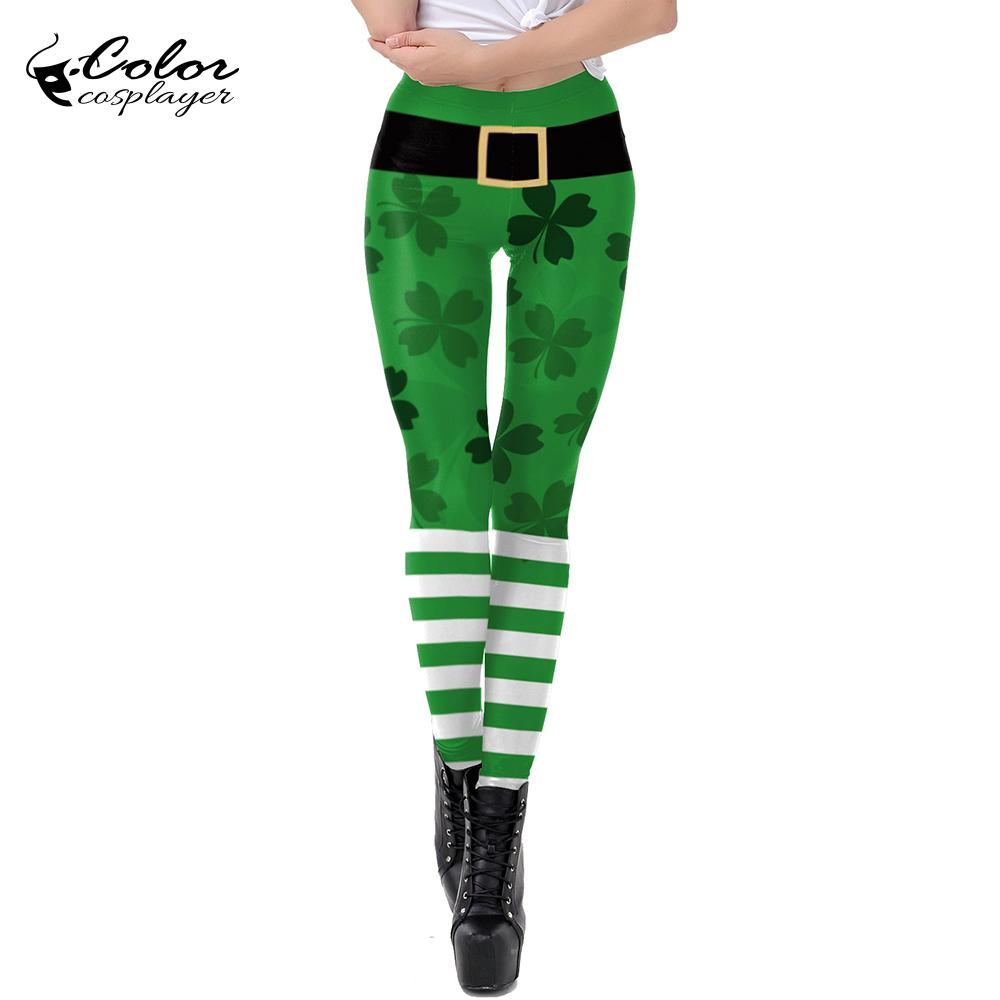 Color Cosplyer Cute St Patrick's Day Leggings For Women Shamrock Printed Paddy's Day Leggings For Fiteness Leggins Plus Size