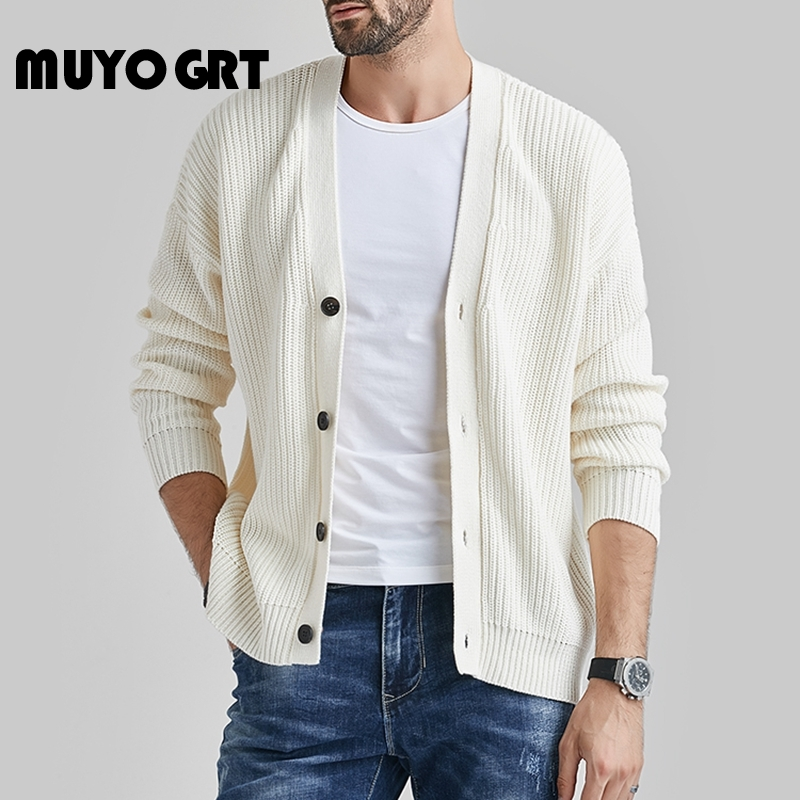 MUYOGRT Autumn New 2020 Men's V-neck Cardigan Sweaters Slim Solid Button Sweater Thin Waist Wool Coat Genuine Men coat